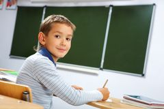 Boy at lesson Royalty Free Stock Photography