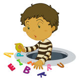 Boy with letters Stock Photos