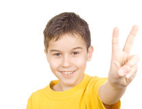 Boy letting out a victory yell Stock Photos