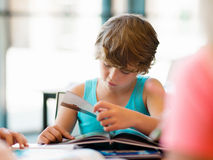 Boy in library Stock Photo