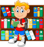 Boy in library cartoon Stock Photography