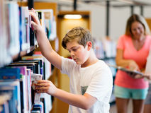 Boy in library Royalty Free Stock Images