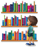 A boy in the library in front of the bookshelves. Illustration of a boy in the library in front of the bookshelves vector illustration