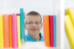 Boy in the library Stock Photo