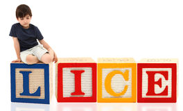 Boy Lice. Attractive seven year old french american boy sitting on giant word lice Stock Photo
