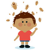 Boy with lice Royalty Free Stock Photography