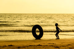 Boy and life buoy Royalty Free Stock Image