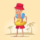 Boy with Lifebuoy on Summer Holidays. Sea Vacation Stock Photography