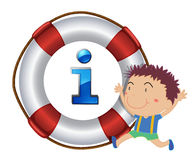 Boy and lifesaver floating Royalty Free Stock Photography