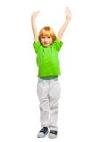 Boy with lifted hands Royalty Free Stock Photos