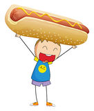 Boy lifting up giant hotdog. Illustration Royalty Free Stock Images