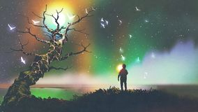 Boy with the light ball looking at fantasy tree. Night scenery of the boy with the light ball looking at fantasy tree, digital art style, illustration painting Stock Images