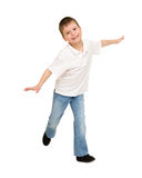 Boy like a plane isolated Royalty Free Stock Photo