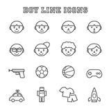 Boy line icons Stock Images