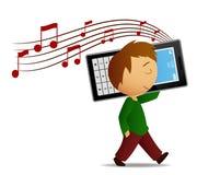 Boy listen music cell phone Stock Photography
