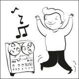 Boy listen music and dansing vector illustration