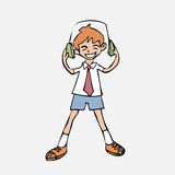 Boy listen music headphone Stock Images