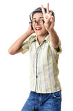 Boy listening cool music headphones Stock Photos