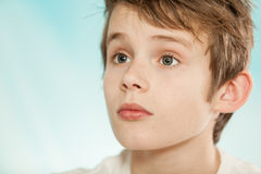 Boy listening and looking with copy space Royalty Free Stock Image