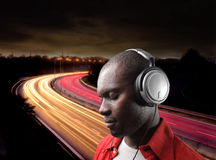Boy listening music Royalty Free Stock Images