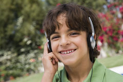 Boy Listening Music Stock Photo