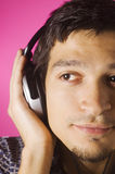 Boy listening music Stock Photos