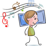 A boy listening music with cell phone. Illustrated cartoon image royalty free illustration