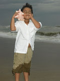 Boy listening to a conch Stock Images