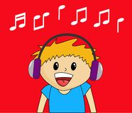 Boy Listening to Music. Cute cartoon boy listening to music Stock Photos