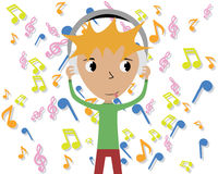 Boy listening to music. Boy listens to music with headphones, on the background music Royalty Free Stock Photography