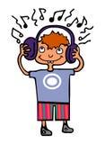 Boy listening to music. Cute cartoon boy listening to music on headphones Royalty Free Stock Image
