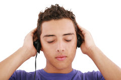Boy listening to the music Stock Images