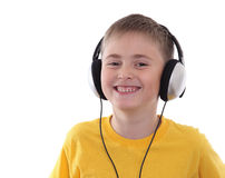 A boy listening to the music Royalty Free Stock Photos