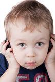 Boy listening to music Royalty Free Stock Image