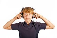 Boy listening to music Stock Photo