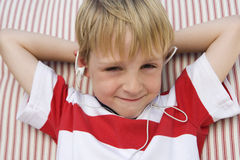 Boy Listening To Music Stock Photos