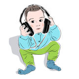 Boy listening to music on headphones royalty free illustration
