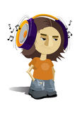Boy listening to music. Illustration of a boy is listening to music. Simple solid fill only - no gradient, no gradient mesh Royalty Free Stock Photo