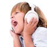 Boy listening to music Royalty Free Stock Photos