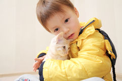 Boy with little cat Royalty Free Stock Photos