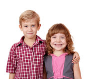 Boy and little girl posing Royalty Free Stock Photos