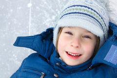 Boy little have fun winter outdoor Royalty Free Stock Photo