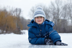 Boy little have fun winter outdoor Royalty Free Stock Photography