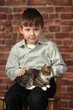 Boy with little kitten Stock Image