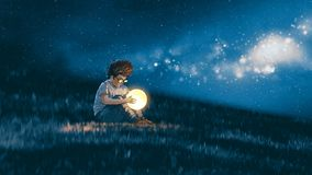 Boy with a little moon in his hands. Night scene showing young boy with a little moon in his hands sitting on meadow, digital art style, illustration painting Royalty Free Stock Photography