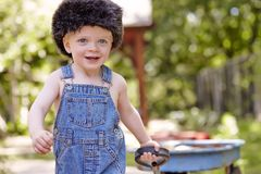 Boy. Little boy outside toy park playing cute happy sweet Royalty Free Stock Photo