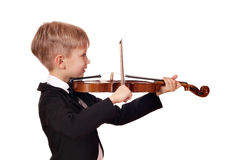Boy little violinist Royalty Free Stock Photography
