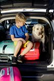 Family vacation suitcases Labrador dog boy kid baggage blue pink orange house sun summer luggage car ready holidays green trank bo. Boy are loading multicolored Royalty Free Stock Images