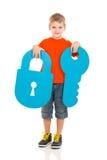 Boy lock key royalty free stock photos