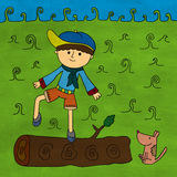 Boy on log Stock Image